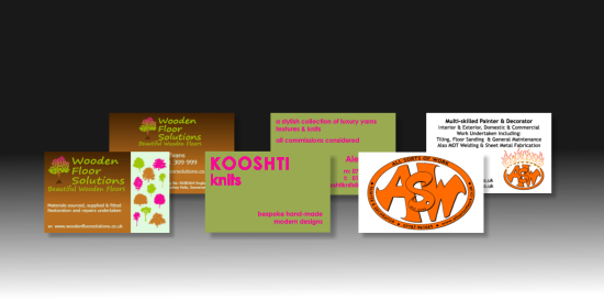 A selection of double-sided business cards